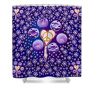 The Key To Love Is Peace And Love Popart Shower Curtain
