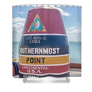 The Key West Florida Buoy Sign Marking The Southernmost Point On Shower Curtain