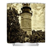 The Key West Lighthouse In Sepia Shower Curtain