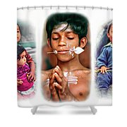The Kids Of India Triptych Shower Curtain