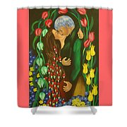 The Kiss Shower Curtain by Milagros Palmieri