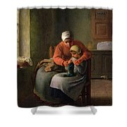 The Knitting Lesson Shower Curtain