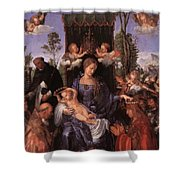 The Lady Of The Festival Du Rosaire Fragment Shower Curtain