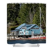 The Lake House - Digital Oil Shower Curtain