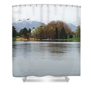 The Lake View  Shower Curtain