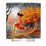 The Last Dance Of Autumn - Fantasy Art  Shower Curtain