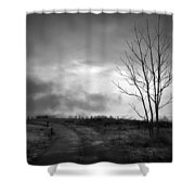 The Last Dawn - Grayscale Shower Curtain