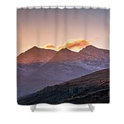 The Last Light Of The Day Over Snowdon. Shower Curtain