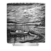 The Last Sunset Before Sailing Black And White Shower Curtain