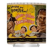 The Laughs Are Monsterous Abott An Costello Meet Frankenstein Classic Movie Poster Shower Curtain