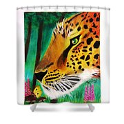 The Leopard And The Butterfly Shower Curtain
