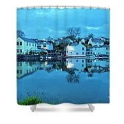 The Lights Come On In Mylor Bridge Shower Curtain