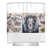 The Lion And The Butterflies Shower Curtain