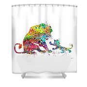 The Lion King Mufasa And Simba Watercolor Art Print Shower Curtain