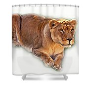 The Lioness - Vignette Shower Curtain