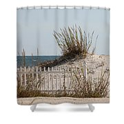 The Little Dune And The White Picket Fence Shower Curtain