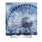 The Liverpool Wheel In Blues Shower Curtain