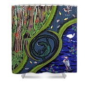 The Living Marshes Shower Curtain