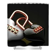 The Lock Code Puzzle Heart. Shower Curtain