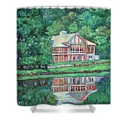 The Lodge At Peaks Of Otter Shower Curtain by Kendall Kessler