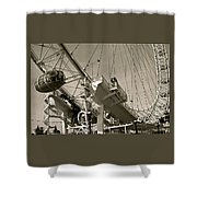 The London Eye In Sepia Shower Curtain