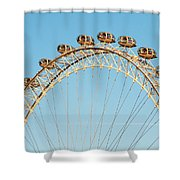 The London Eye Ferris Wheel Against A Cold Blue Winter Sky Shower Curtain
