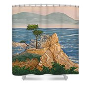 The Lone Cypress Tree Shower Curtain