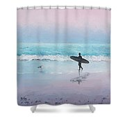The Lone Surfer 2 Shower Curtain