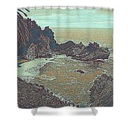The Lone Waterfal By The Hidden Cove Shower Curtain