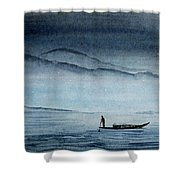 The Lonely Boat Man Shower Curtain