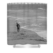 The Lonely Surfer Dude Shower Curtain