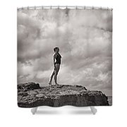 The Long Distance Swimmer Shower Curtain