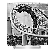 The Loop Black And White Shower Curtain