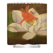 The Lotus And The Dragonfly Shower Curtain
