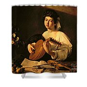 The Lute Player Shower Curtain by Michelangelo Merisi da Caravaggio