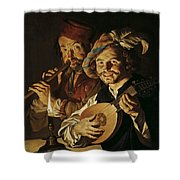 The Lutenist And The Flautist Shower Curtain