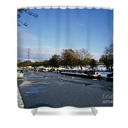 The Macclesfield Canal At Poynton In Winter And Frozen  Cheshire England Shower Curtain