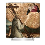 The Madonna And Child Appearing To Saint Bruno With The Instruments Of The Passion Shower Curtain