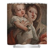 The Madonna And Child With A Goldfinch Shower Curtain