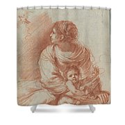 The Madonna And Child With An Escaped Goldfinch Shower Curtain