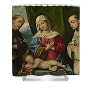 The Madonna And Child With Saints Shower Curtain