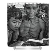 The Magic Of Books Bw Shower Curtain