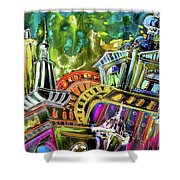 The Magical Rooftops Of Prague 02 Shower Curtain by Miki De Goodaboom