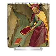 The Magus Hermogenes Casting His Magic Books Into The Water Shower Curtain