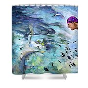 The Man And The Sharks Shower Curtain