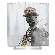 The Man Engine And His Man Shower Curtain