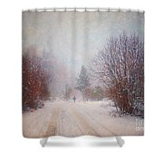 The Man In The Snowstorm Shower Curtain by Tara Turner