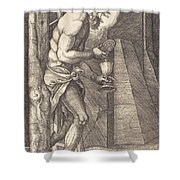 The Man Of Sorrows At The Foot Of The Cross Shower Curtain