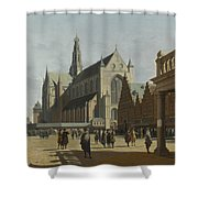 The Market Place And The Grote Kerk At Haarlem Shower Curtain