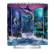 The Marlin And His Sea Friends  Shower Curtain